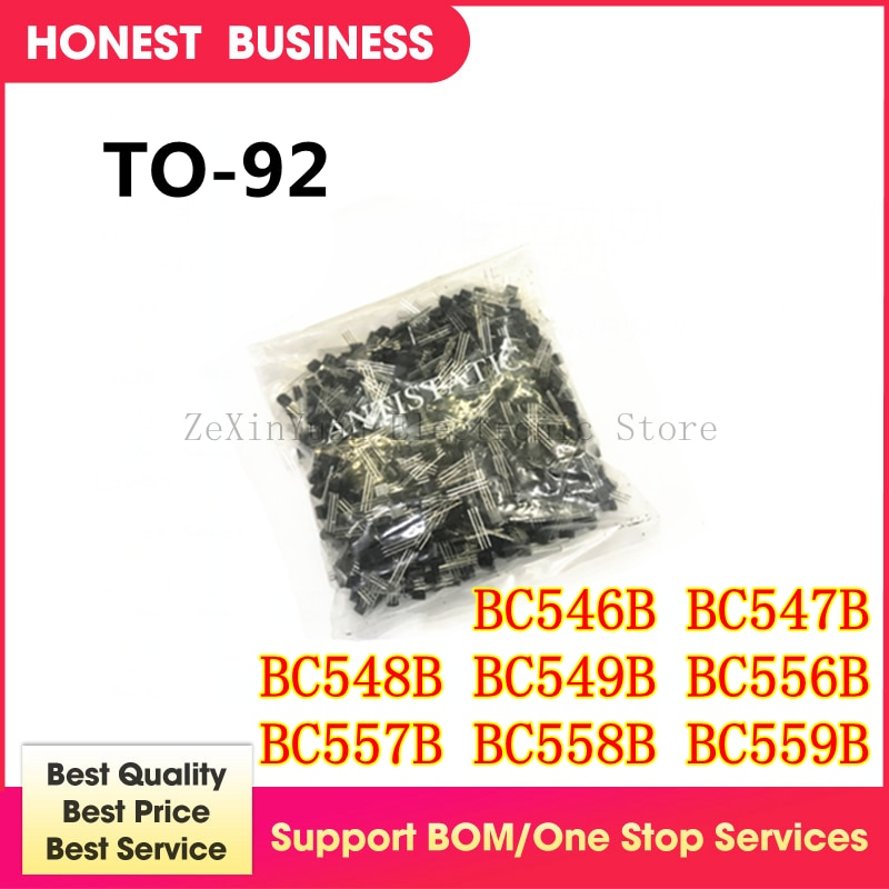 Nuevo 500 unids/lote BC546B BC547B BC548B BC549B BC556B BC556 BC557B BC557 BC558B BC558 BC559B TO92 a 92 que transistor triodo