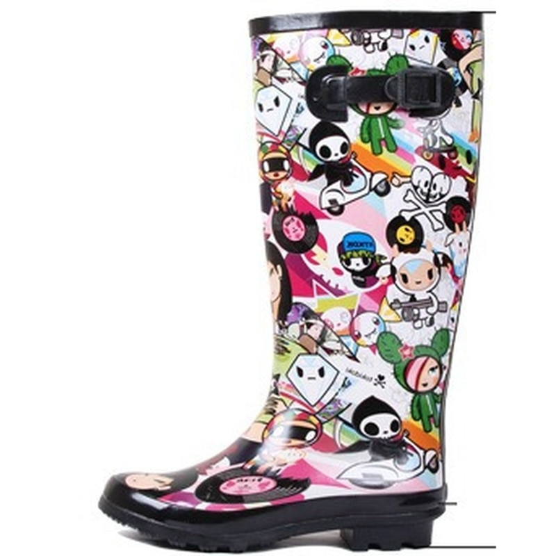 Comemore طويل القامة النساء Rainboots عدم الانزلاق مقاوم للماء أحذية المطر الرسوم المتحركة المطاط موضة أحذية ماء الإناث غير رسمية امرأة Rainboots