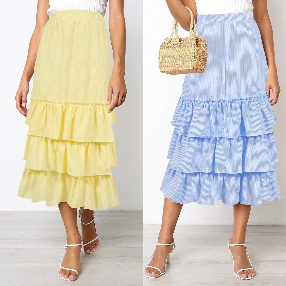 2020 ladies summer skirt womens new two-color striped cake skirt long skirt summer skirt plus size  high waist skirt