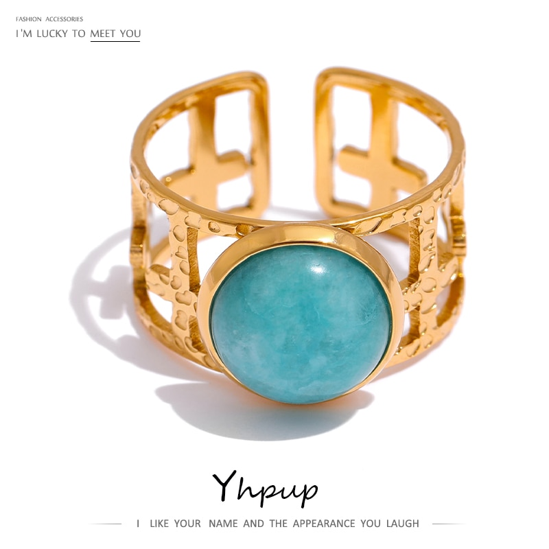 AliExpress - Yhpup 316L Stainless Steel Trendy Ring Simple Gold Metal Blue Stone Opening Ring for Women кольцо женское Wedding Gift Jewelry