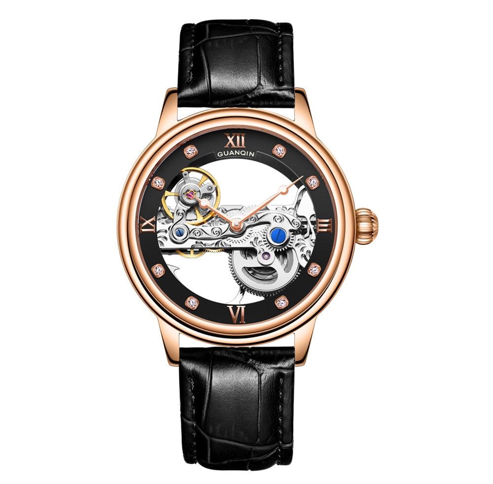 GUANQIN, luminoso, mecánico, automático, esqueleto, Tourbillon 2020, reloj de marca superior de lujo para hombres, reloj impermeable, reloj Masculino AAA