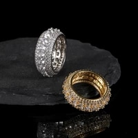 hip hop 5 row tennis iced out bling full cz charm hollow tready copper cubic zircon ring for men jewelry gold size 7 11