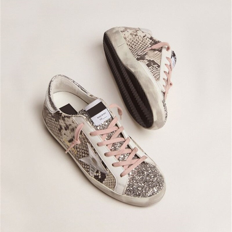 Autumn New Products Children's Snake Print First Layer Cowhide Retro Distressed Small Dirty Shoes Parent-child Casual Shoes QZ47 enlarge