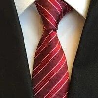 new slim necktie mens business work tie for men suit necktie narrow 8cm man silk ties striped red white black mens gift wedding