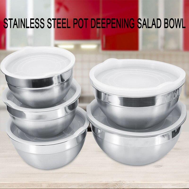 Миска для смешивания 4 размера миски инструменты для приготовления пищи столовая Салатница прочная крышка из нержавеющей стали коробки для обеда мгновенная лапша практичная