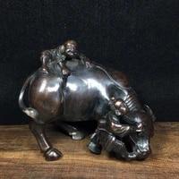 home decor 7 tibet buddhism old bronze cinnabars wangcai boy bull statue cowherd boy statue implication lucky fortune