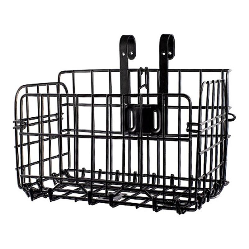 Cesta plegable trasera de malla de alambre plegable bolsa frontal desmontable cesta colgante trasero de bicicleta