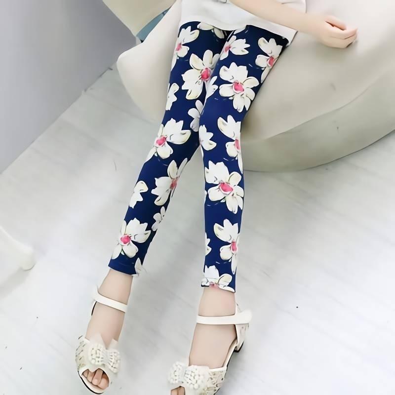 Kids Leggings Baby Girls Clothes 2019 Flower Printed Skinny Pants Children Cotton Pencil Trousers 2-11 Years Girl Leggings