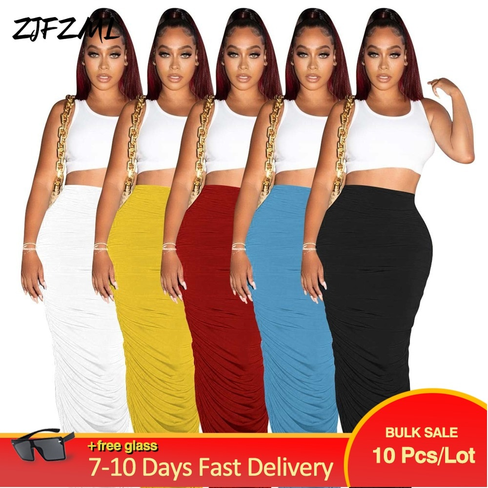 Bulk Items Wholesale Lots Night Clubwear Party Maxi Skirt for Women High Waist Ruched Pleated Skirts OL Female Bandage Clothing