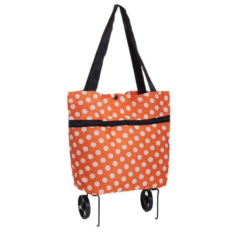 Carrito de compras plegable con ruedas y ruedas, bolso de equipaje, carrito con puntos de color naranja