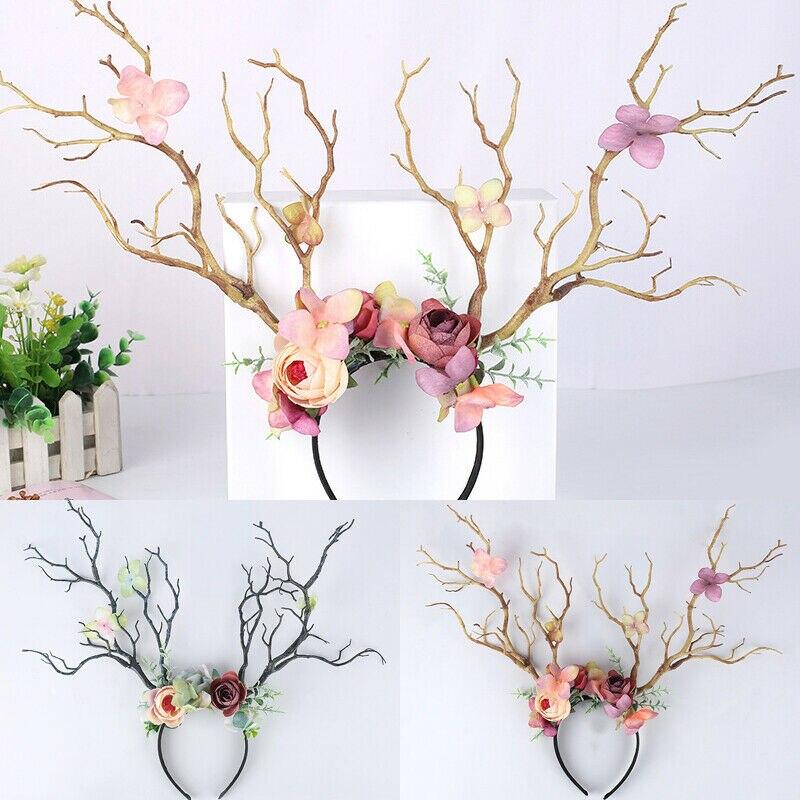 Cornamenta de ciervo gótico rama de los cuernos flor banda para el cabello diadema Cosplay cabeza de lujo vestido de Navidad traje diadema foto Accesorios