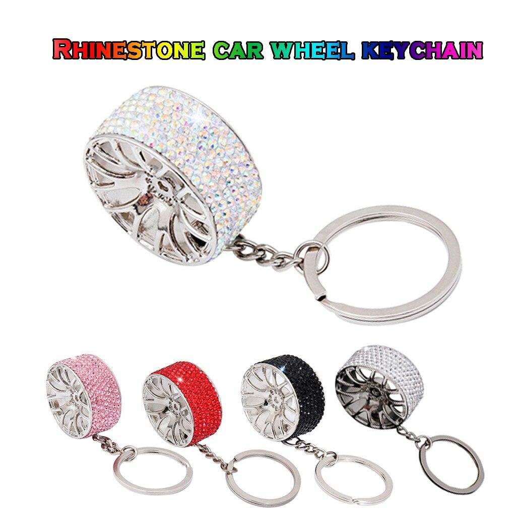 Rhinestone keychain New Creative Wheel Hub Rim Model Car Key Chain Keyring Gift Car Key Chain Holder Porte Clef