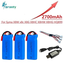 2s RC Lipo Battery 7.4v 2700mAh and USB Charger for Syma X8C X8W X8G X8 X8HC X8HG X8HW HQ899 T70CW R