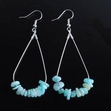 WOJIAER Women Jewelry Water Drop Earrings Natural Import Chip Stone Silver-color Beauty Simple Dangl