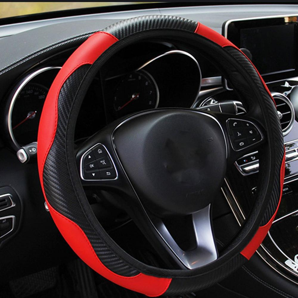 Car Steering Wheel Cover Breathable PU Leather Wheel Cover Auto Decoration Carbon Fiber Steering Wheel Cover Wearable