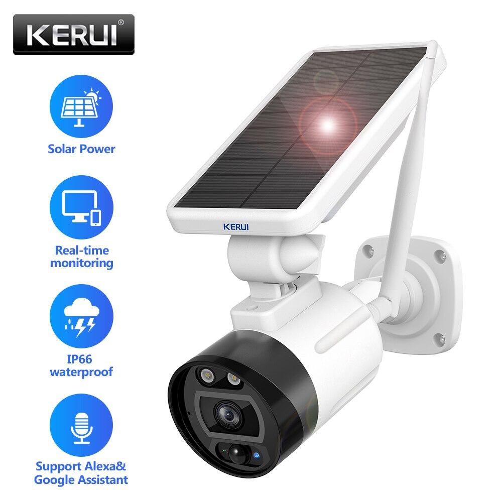 KERUI-cámara IP Solar, WIFI, HD1080P, batería recargable integrada, para seguridad doméstica, cámara de vigilancia inalámbrica para exteriores, compatible con Alexa