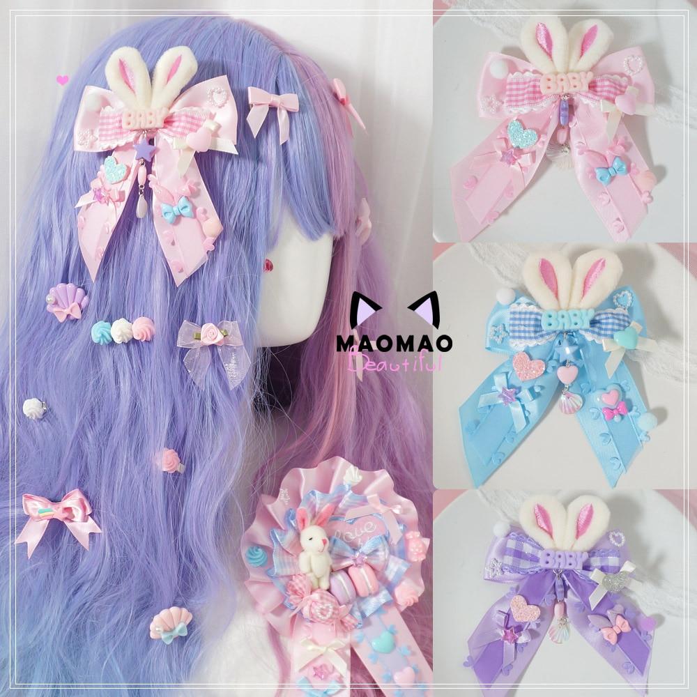 Bonitas Orejas de conejo de peluche, pinza para el pelo con lazo, accesorios para el cabello, Lolita de clip LATERAL japonés, adorable adorno a cuadros con encaje, tocado para Cosplay