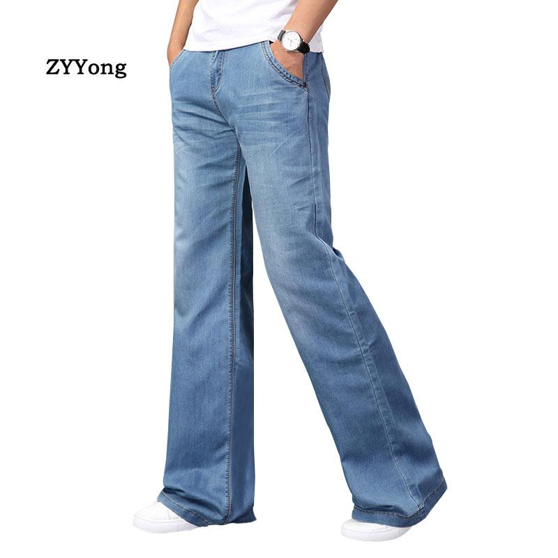 موضة رجّالي بوت قطع جينز كبير اندلع بوت قطع الساق واسع بنطلون فضفاض مقاس كبير صالح مصمم كلاسيكي أزرق الدينيم بنطال