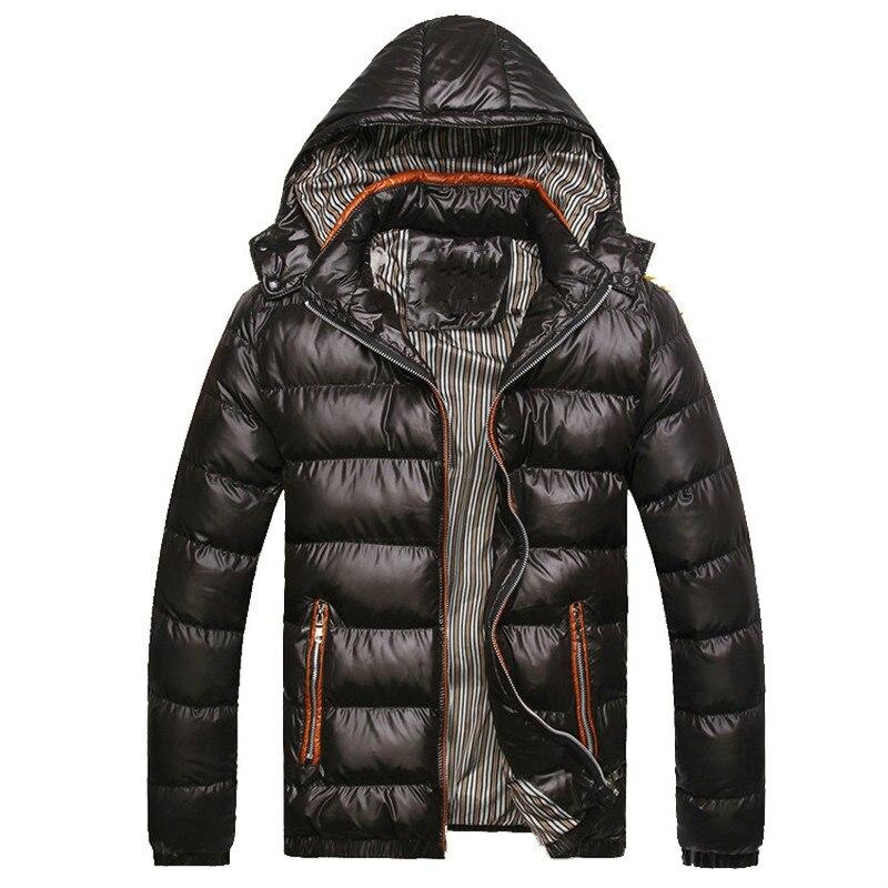 Мужские зимние куртки с капюшоном, повседневные парки, мужские пальто, плотные теплые блестящие пальто, приталенная брендовая одежда 7XL