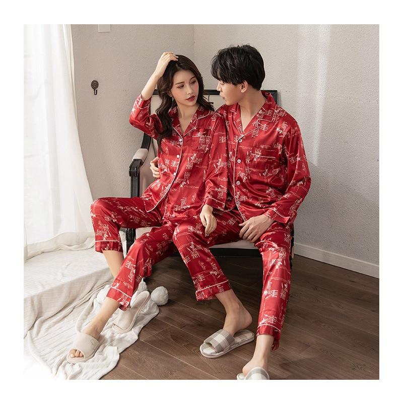 Couple Sleepwear Silk Satin Pajamas Set  Button-Down Pyjamas Suit Pijama Women Men Loungewear Plus Size Pj Set