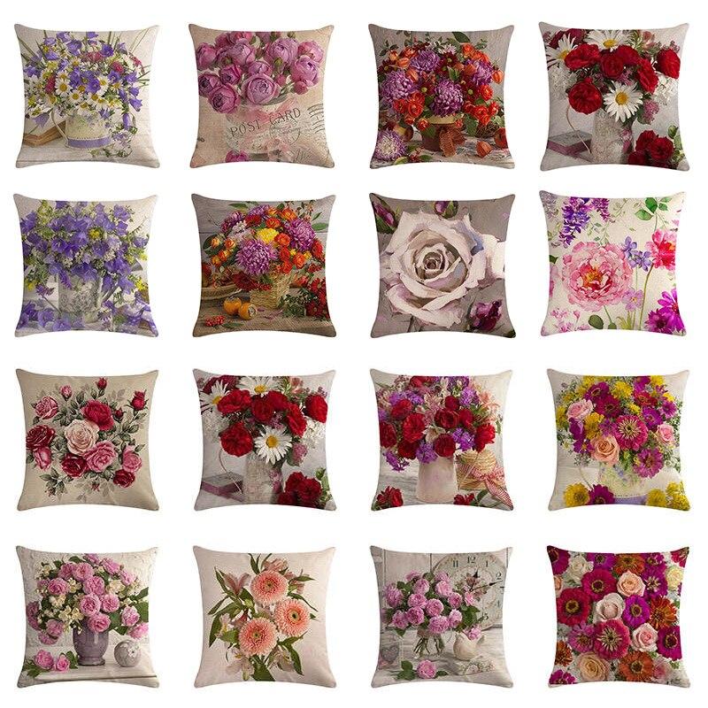 45x45cm Estilo Country Moderno Flor Rosa de Linho Personalizado Capa de Almofada Sofa Chair Car Fronha Decorativo Rosa fronha