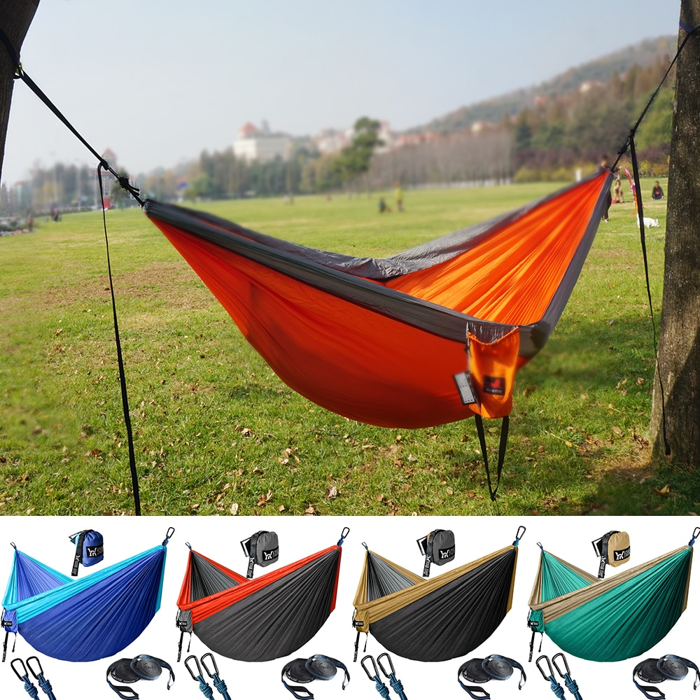Upgrade Camping Hammock Outdoor Tourist Hanging Hammocks Portable Parachute Nylon Hiking Hammock For Backpacking Travel