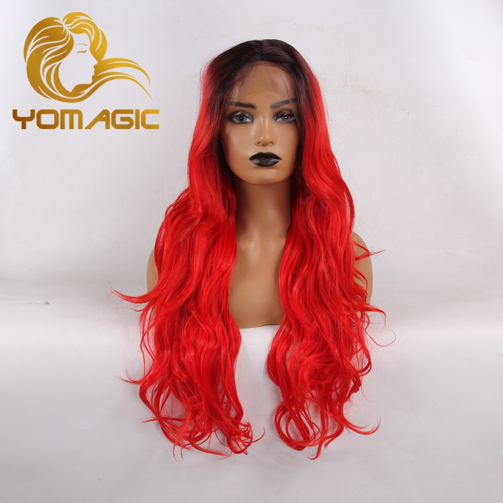 Yomagic Long Wave Synthetic Hair Lace Front Wigs for Women Natural Hairline Red Color Synthetic Glue