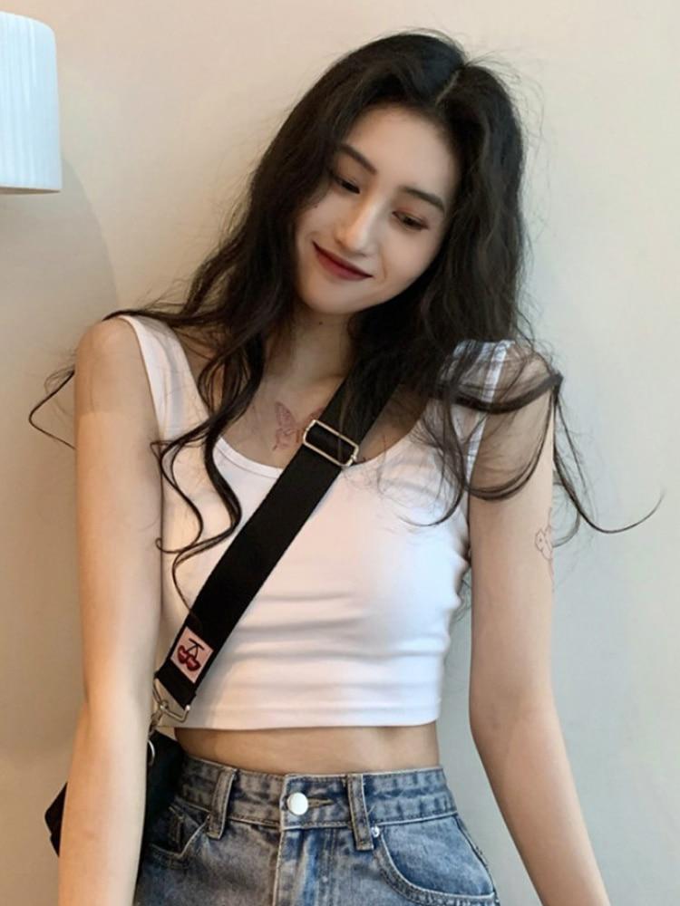 White Suspender Vest Women's Summer Suit with Bottom Shirt Inside, Hot Girls Wear Super Navel Expose