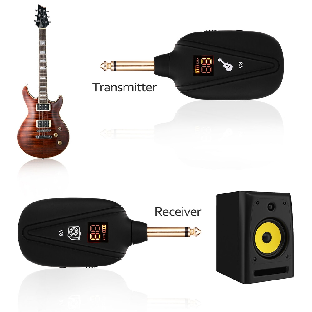 A8 High-Grade Wireless Guitar Transmitter Receiver Set UHF Wireless Guitar System 4 Channels For Electric Guitar Bass Violin enlarge