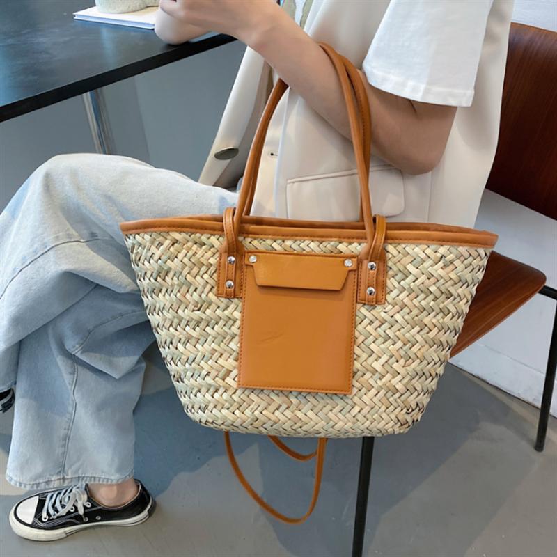Large Capacity Summer Beach Straw Bags 2021 Simple Luxury Brand Fashion Travel Ladies Shoulder Handbags Top Handle Totes
