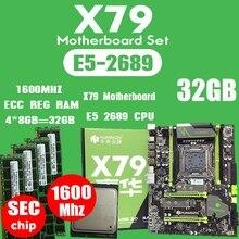 HUANANZHI X79 Moederbord LGA2011 ATX Combo E5 2689 CPU 4Pcs X 8GB = 32GB DDR3 RAM 1600 mhz PC3 12800R PCI-E NVME M.2 SSD