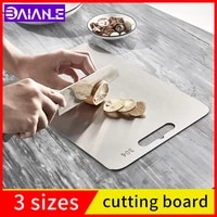 kitchen cutting board square antibacterial and mildew proof 304 stainless steel household double sided fruit cutting board