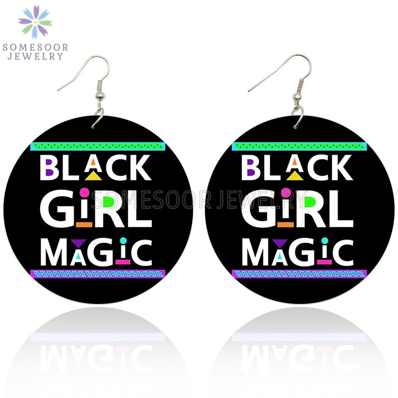 SOMESOOR Black Girl Magic Writings African Wooden Drop Earrings Afro Power Sayings Melanin Wood Dangle Jewelry For Women Gifts
