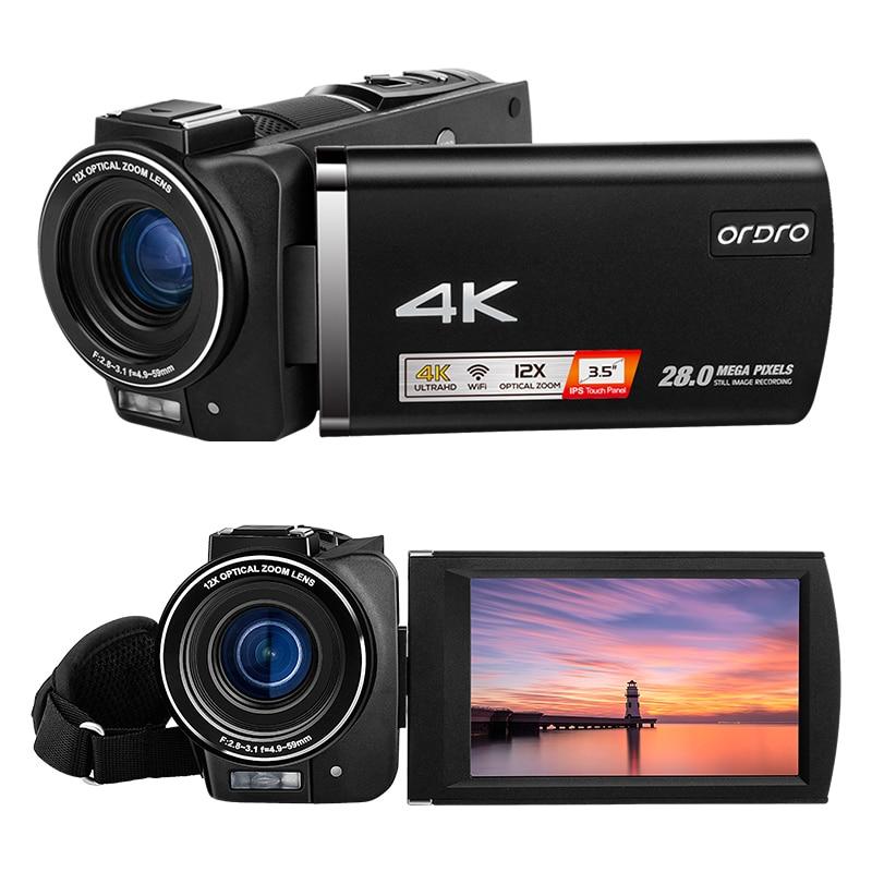 كاميرا فيديو AX60 لتسجيل الفيديو بدقة 4K ومدون بث مباشر وتكبير بصري بقدرة 12 مرة وشاشة 3.5 بوصة وذاكرة احترافية بدقة 28 ميجابكسل وذاكرة 64 جيجا