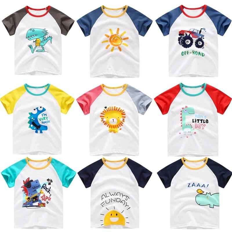 New Cotton Kids T-Shirt Children Summer Short Sleeve T-Shirts for Girls Clothes Car Dinosaur Butterfly Baby T Shirt Toddler Tops