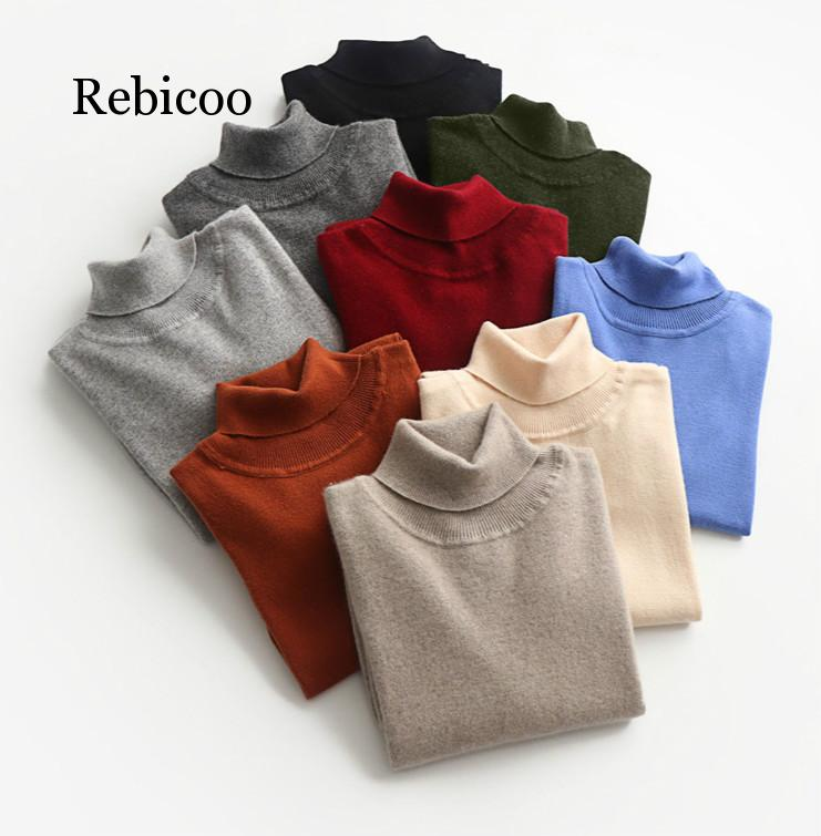 Turtleneck Cashmere Sweater Men 2019 Autumn winter sueter hombre clothes Classic Knitwear Robe Pull Homme Pullover Men sweaters недорого