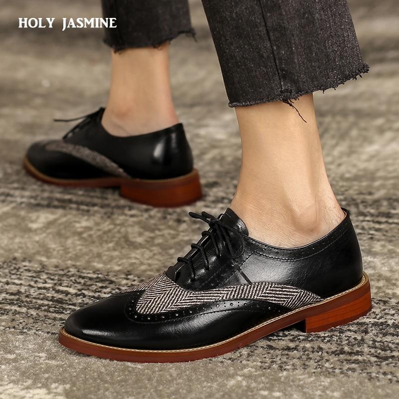 Oxfords 2021 New Women Dress Genuine Leather Bullock Brand Shoes for Women Brogues Leisure Vintage Women Custom Women Shoes