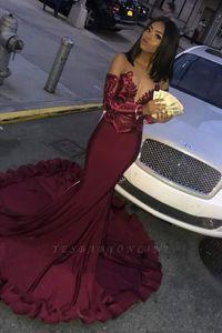 Robe De Soiree Burgundy Long Sleeve Prom Dresses 2020 Sequin Evening Mermaid Dress Formal Satin Dress Vestido Gala