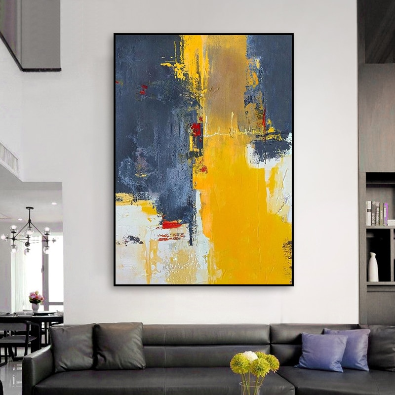 Grey Canvas Painting High Skilled Living Room  Restaurant Interior Decoration Picture Wall Art Hand Painted Oil Painting
