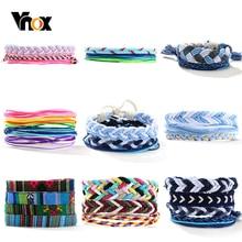 Vnox bohême femmes corde Bracelets ensemble réglable tressé corde bracelet coloré unisexe vacances décontracté bijoux