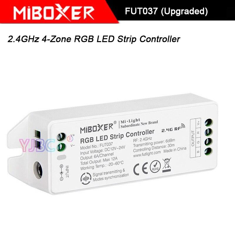 Miboxer RGB LED Strip light Controller,FUT037 (Upgraded) 2.4GHz 4-Zone DC12V~24V RGB led lamp tape dimmer