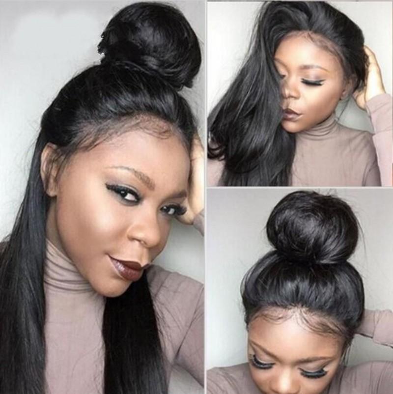 شعر مستعار طبيعي ناعم ، شعر بشري ، مع غطاء دانتيل 360 ، 360 ، منتف مسبقًا ، للنساء الأفريقيات