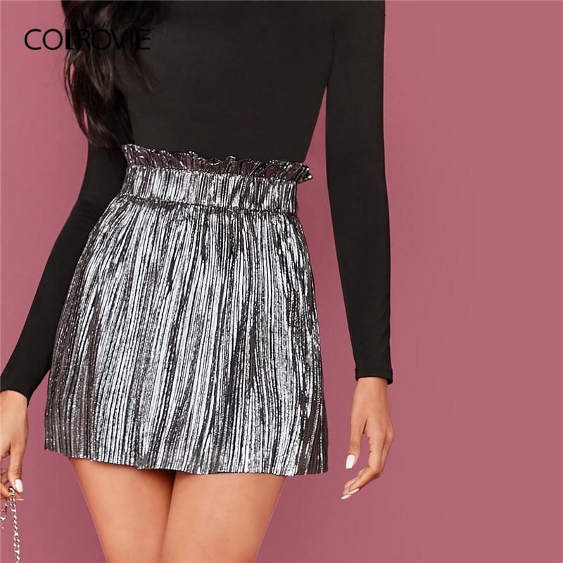 COLROVIE Grey Paperbag Waist Pleated Metallic Skirt Women High Waist Mini Skirt 2020 Spring Glamorous Solid Ladies Skirts