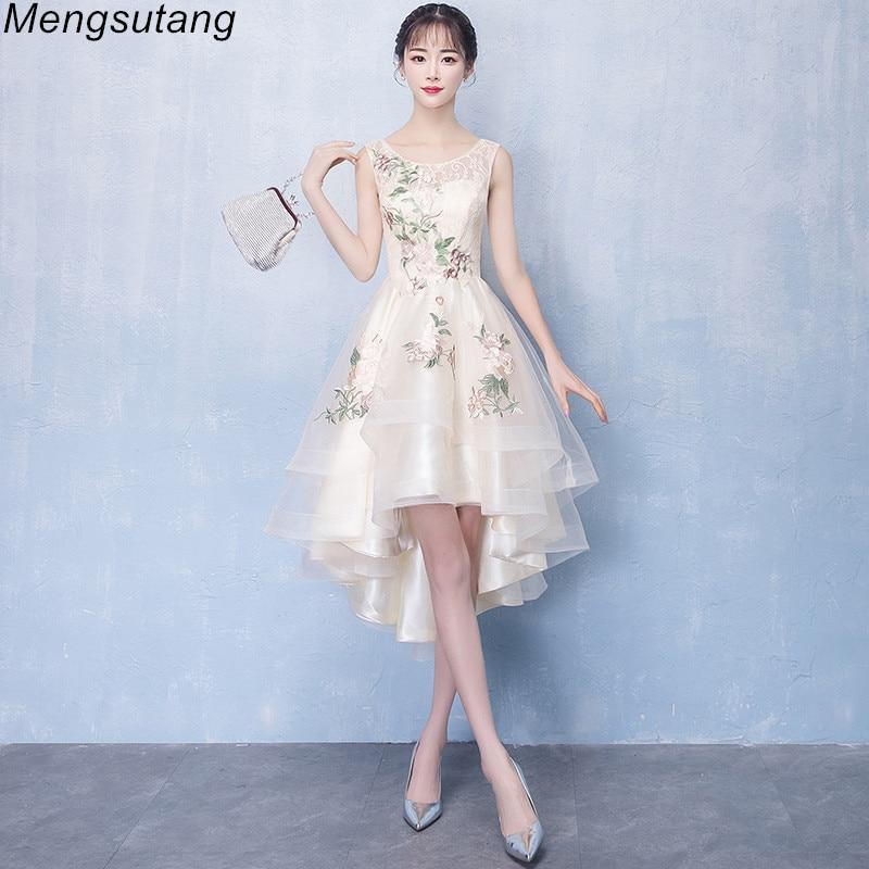 Robe de soiree Kurze Vordere Lange Zurück Champagne Tüll mit Appliques Abendkleid Charming Sleeveless O Neck Formale Party Kleid