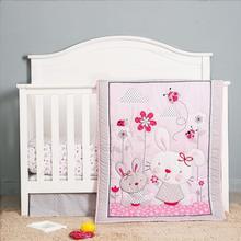 3 pièces lapin bébé berceau lit bébé ensembles pépinière nouveau-né garçon fille 3D Amimal, Fiteed feuille + poussière à volants + couette