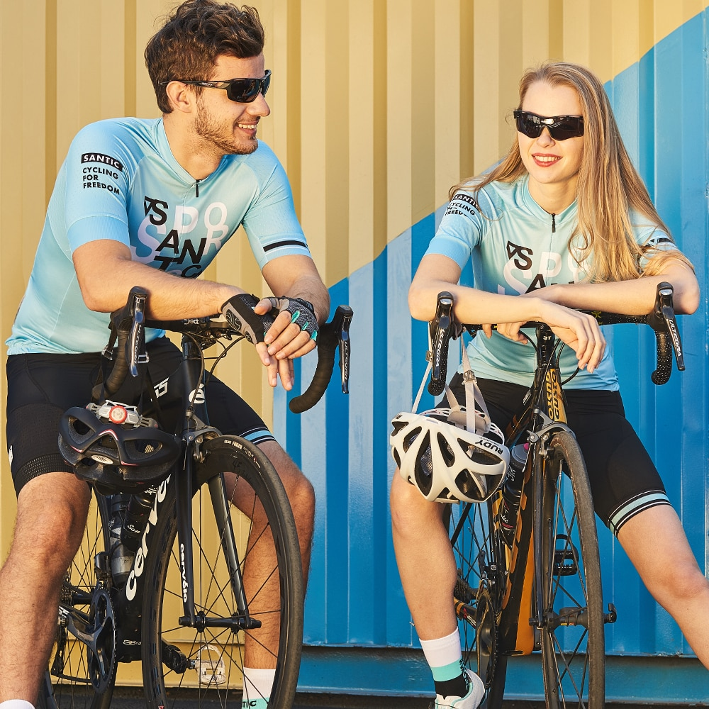 Santic-Camiseta de manga corta para ciclismo, camisetas para ciclismo de montaña o de equipo, XS-2XL Asia 9C02142