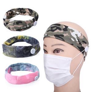 Sport Yoga Button Headband Camouflage Elastic Wrap Turban Stretch Accessories
