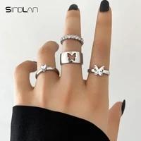 sindlan 4pcs punk butterfly silver color matching rings for women kpop cute heart crystal set female y2k fashion jewelry bauge