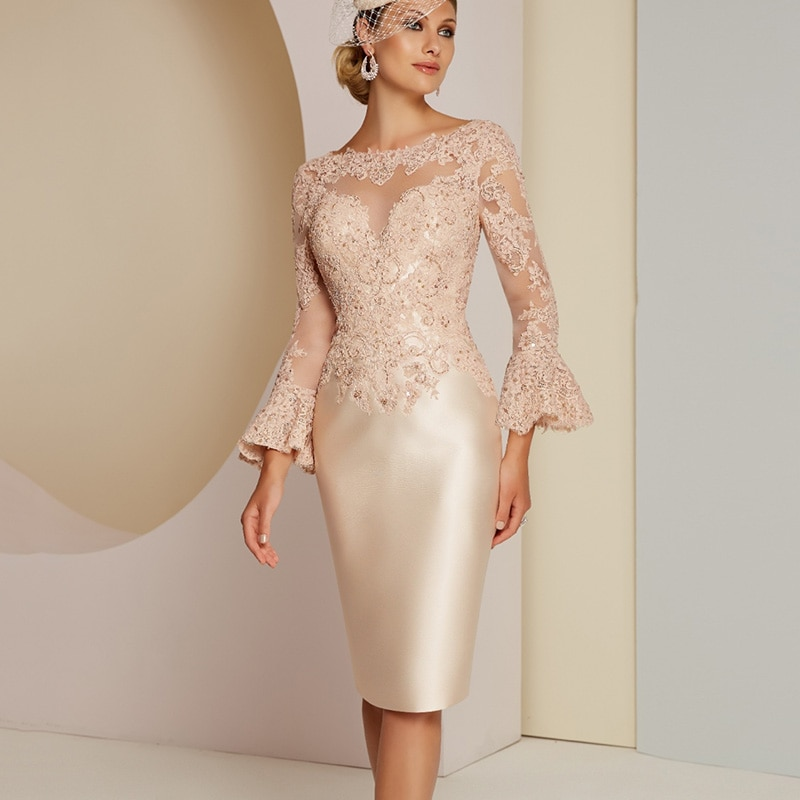New Wedding Party Dress Knee Length Champagne Lace Mother of the Bride Dress Flared Long Sleeves 202