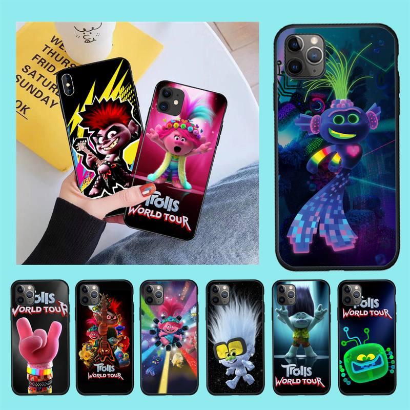 CUTEWANAN Anime Trolle Welt Tour Abdeckung Schwarz Soft Shell Telefon Fall für iPhone 11 pro XS MAX 8 7 6 6S Plus X 5S SE 2020 XR fall